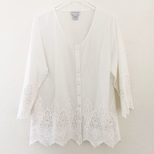 Soft Surroundings Embroidered Blouse Size Large